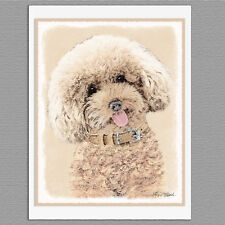 6 Poodle Toy Miniature Dog Blank Art Note Greeting Cards