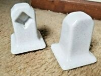 Vintage White With Gold Specks Glossy Porcelain Towel Bar Rack Holders