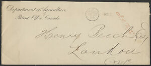 1880 Ottawa FREE Duplex On Dept of Agriculture Cover to London Ont, J C Tache