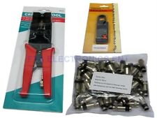 50pcs TV RG6 RG59 Compression Connectors & Pro Tool with Cable Wire Stripper Kit
