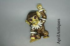 Vintage Sphinx brown enamel Monkey faux pearl drop jewelled brooch