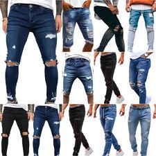 Mens Skinny Ripped Jeans Long Denim Pants Casual Distressed Slim Biker Trousers