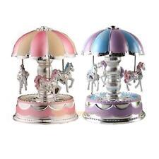 Kids Girl LED Lamp Horse Carousel Music Box Toy Clockwork Musical Christmas Gift