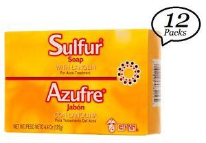 12 Packs GRISI Sulfur Soap With Lanolin for Acne Treatment / Azufre Jabon 4.4 Oz