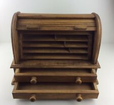 Vintage Wooden Roll Top Desk Tidy with Two Draws and Compartments Inside.