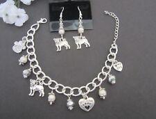 Jewelry Set Pug Charm Bracelet & Earrings w/ Fwater Pearls & Swarovski  Crystals