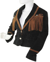 Cripple Creek Black Suede Leather Tan Fringe Western Jacket Cowgirl Size Small