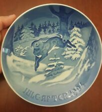 1964 Bing & Grondahl Winter Plate Rabbit Bunny Denmark 7""