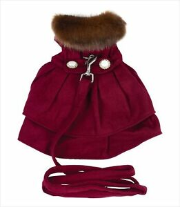"""Burgundy Wool with Fur Collar Harness Coat for Dogs (M (16""""-19"""" Girth; 13""""-16..."""