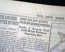 ROBERT BADEN-POWELL Deep Sea Boy Scouts Fellowship Founding 1928 Old Newspaper