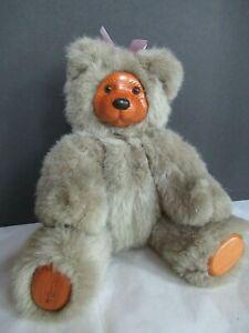 "Teddy Bear 12""  Brown/Tan WOOD Face & Feet-- Applause 1985 Robert Raikes NICE!"
