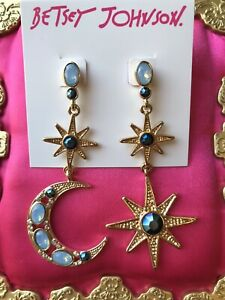 Betsey Johnson Mystic Baroque Opal Blue Crescent Moon Star Mismatch Earrings $45