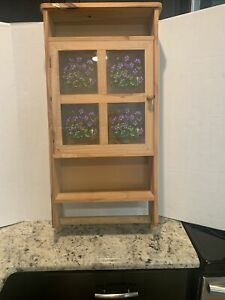 Vintage Wood Curio Cabinet Glass Door with hand painted. Wall Hanging 4 Shelf