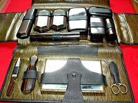 Men's Black Leather Grooming Travel Shaving Vanity Toiletry Kit Antique 1924