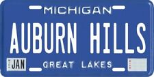 Auburn Hills Michigan Aluminum MI License Plate