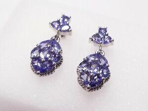 JTV Blue Tanzanite Rhodium Over Sterling Silver Dangle Earrings 2.88ctw MEH199