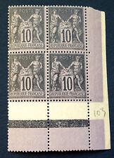 timbre france, n°103, 10c noir/lilas millesime 0 recto/vers, BC neuf ** côté 270