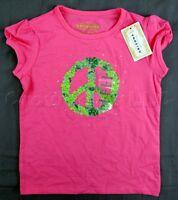 Arizona Company Pink Peace Sign Flower Rhinestone Girl's Shirt - Size 5 (Medium)
