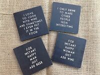 Black Vintage Wooden Drink Coasters Shabby Chic Gift Funny Quotes East of India