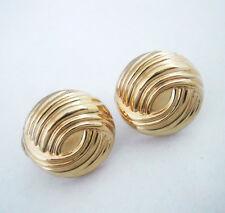 14K Yellow Gold  Button post earrings w omega clip Swirl Pattern