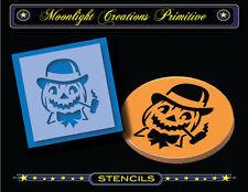 """Halloween Stencil~Vintage~CORN COB PIPE PUMPKIN~3""""x3"""" Derby Hat Smoking Pumpkin"""