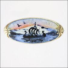 Norwegian Sterling Silver Enamel Scenic Brooch - signed Backwards K