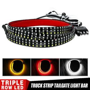 "48"" LED Car Truck Tailgate 3 Row Light Bar Strip Reverse Brake Signal Tail Lamp"