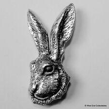 Hare Head Pewter Brooch Pin - British Artisan Signed Badge - Rabbit, Jackrabbit