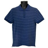 Banana Republic Mens Fitted Polo Shirt Blue Striped Size M Medium Short Sleeve