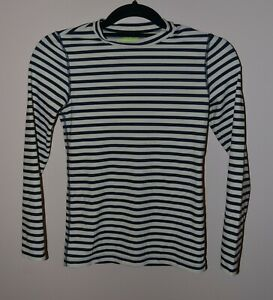 Crewcuts Wear Your Shade UPF 50+ Girls 12 Navy Blue Ivory Stripe LS Rash Guard