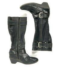 Boc Tall Leather Wedge Boots Buckles Sz 9.5