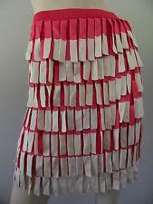 ALANNAH HILL hot pink beige tassled knee length skirt size M EUC