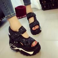 High Quality Bling Womens Platform Wedges Sandals Summer Sport  Sneakers Shoe