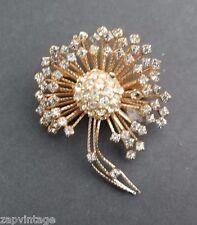 Faux Diamonds Pin Brooch Costume Jewelry Vintage Gold Retro Flower Burst W/