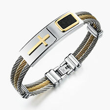 Men's Stainless Steel Religious Cross Cuff Bracelet Bangle Twisted Cable