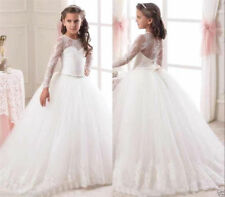 Vintage Lace Flower Girl Dress Champagne Tulle Ball Gowns Kids Princess Pageant