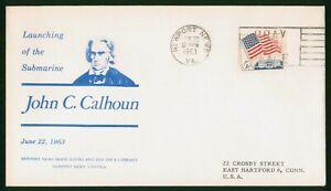 Mayfairstamps US 1963 Submarine John C Calhoun Launching White House Cover wwp_1