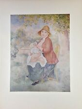 """1952 Vintage Full Color Art Plate """"MOTHER & CHILD"""" by RENOIR Breastfeeding Litho"""