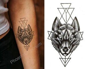 Temporary Tattoo Black Geometric Wolf Fake Body Art Sticker Waterproof