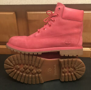 Timberland A1730 Premium Leather Pink Boots Women Size 7