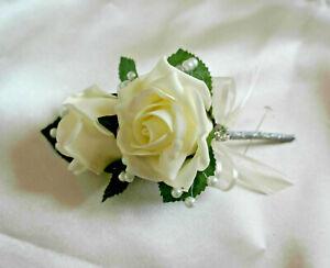 Ladies Rose Corsage Diamante Button Bow