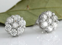 1.25Ct Natural Diamond 14k Solid White Gold  Earrings
