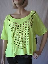 FOX RACING Womens Juniors Eye Opener Top Short Sleeve Day Glo Yellow XSmall