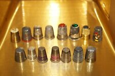 MIX JOB LOT THIMBLE COLLECTION - BRASS , METAL , SILVER