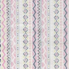 Fabric Western Indian Aztec Geo Diamond Pink Gray on Cream Cotton 1/4 Yard