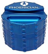Phoenician Engineering - 4 Piece Herb Grinder - Large w/ Paper Holder - Blue