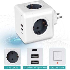 allocacoc PowerCube 2x USB Original, Steckdosenwürfel Reiseadapter 4x Steckdose