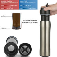 BRBHOM 12oz Stainless Steel French Press Travel Mug Coffee Tea Maker Double Wall