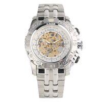 Men's Skeleton Wrist Watch Automatic Mechanical Watches Silver Steel Bracelet