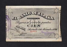 F.C. 100 PESETAS BANCO DE SANTANDER 1936 , MBC- , GRIETAS EN MARGEN INFERIOR .